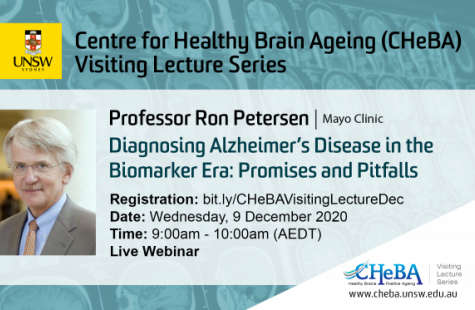CHeBA Visiting Lecture Series: Professor Ron Petersen, Mayo Clinic